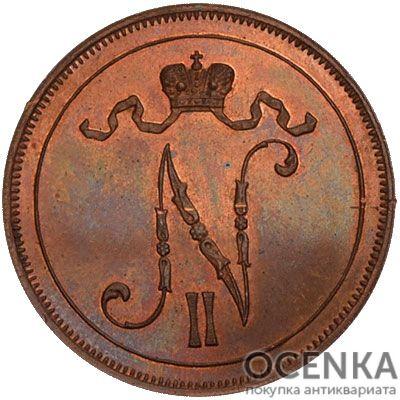Медная монета 10 пенни Николая 2 (для Финляндии) - 1