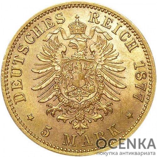 Золотая монета 5 Марок Германия - 6