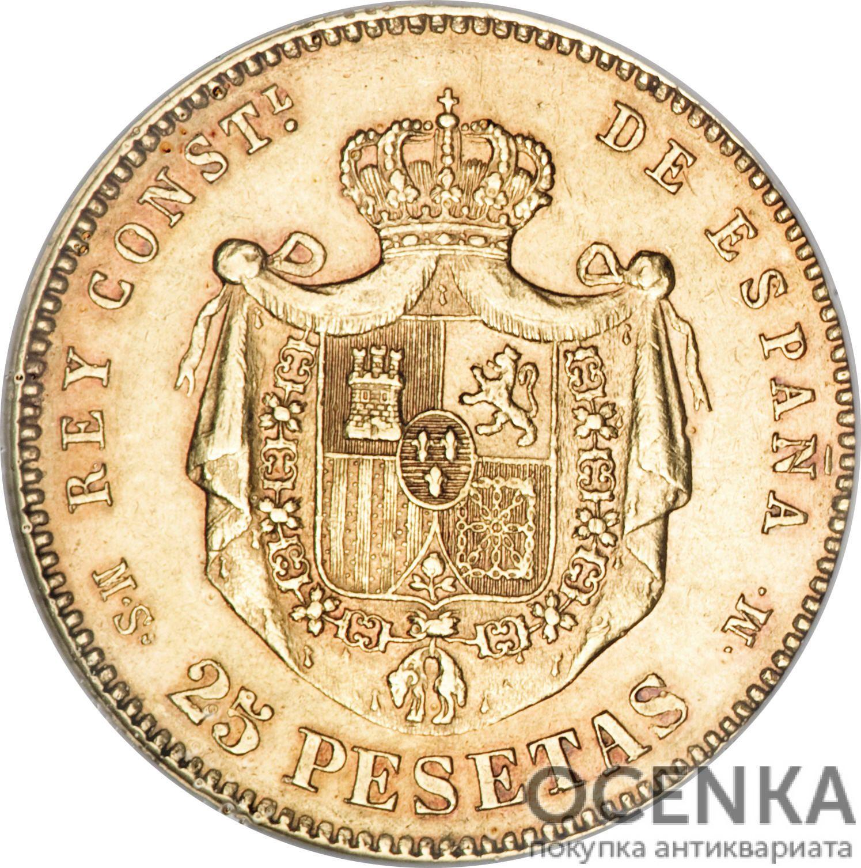 Золотая монета 25 Песет (25 Pesetas) Испания - 4
