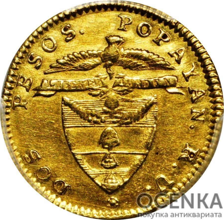 Золотая монета 2 Песо (2 Pesos) Колумбия
