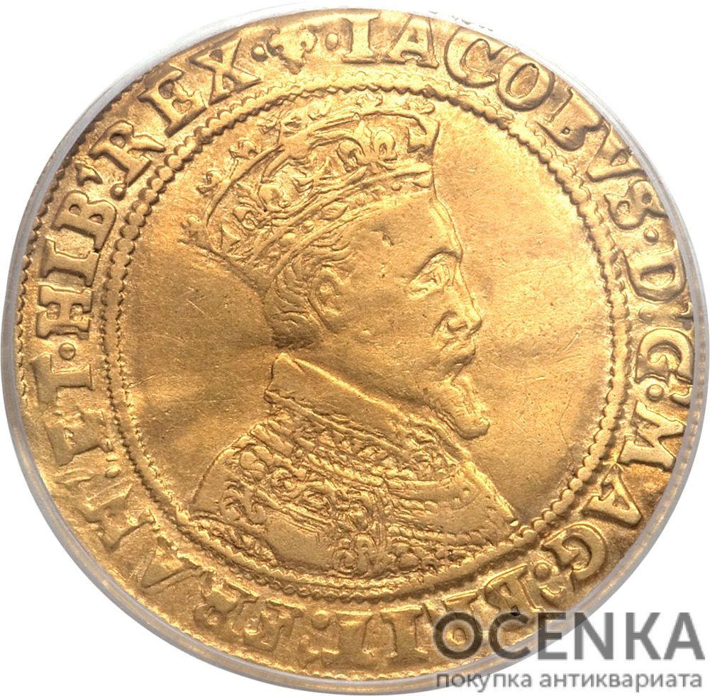 Золотая монета Double Crown (двойная крона) Великобритания