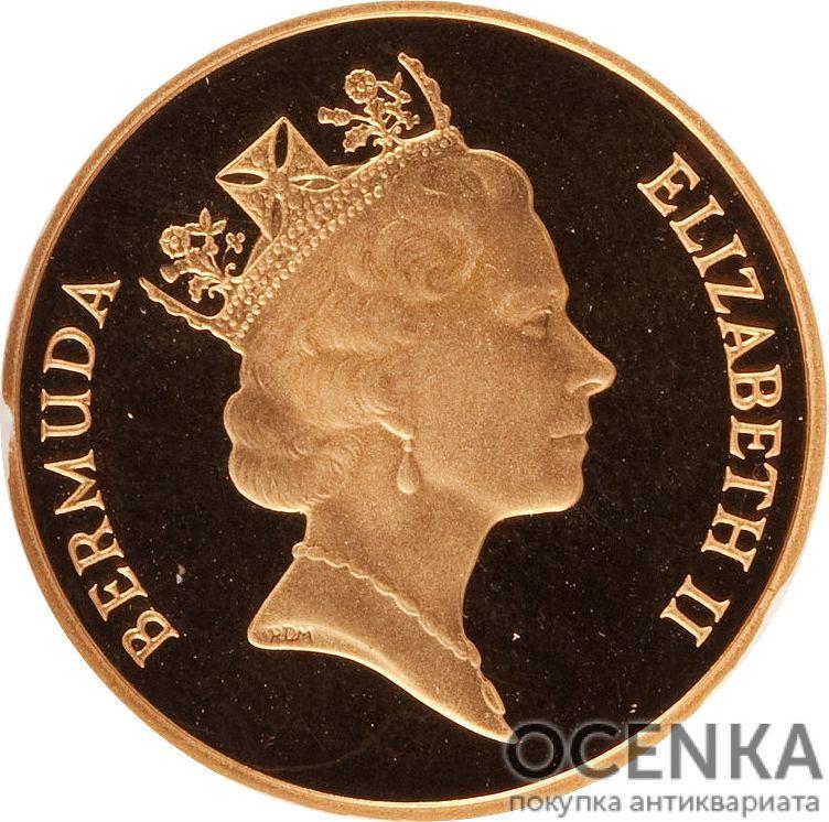 Золотая монета 5 центов Бермудских островов - 1