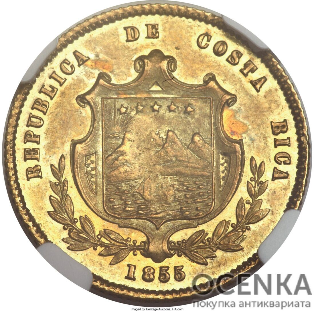 Золотая монета 2 Эскудо (2 Escudos) Коста Рика - 1