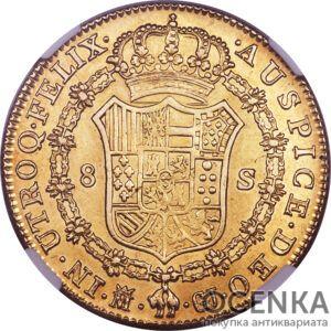 Золотая монета 8 Эскудо (8 Escudo) Испания