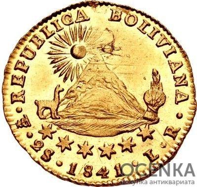 Золотая монета 2 скудо (2 Scudos) Боливия - 2