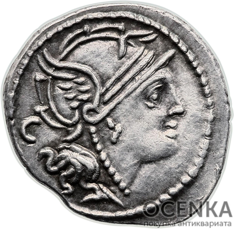 Серебряный Республиканский Денарий Марка Сервилия Нониана, 100 год до н.э.