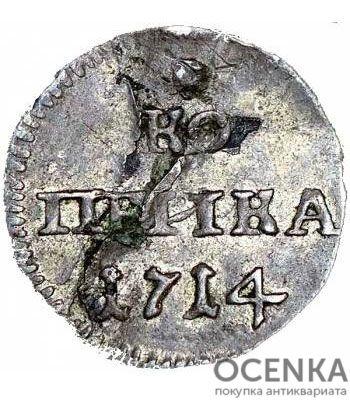 Серебряная 1 копейка 1714 года Петр 1