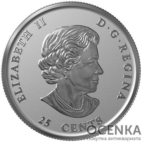 Серебряная монета 25 Центов Канады - 7