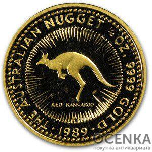 Золотая монета 15 долларов 1989 год. Австралия. Красный кенгуру
