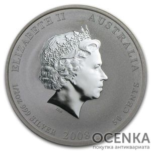Серебряная монета 50 центов 2008 год. Австралия. Лунар. Год Крысы