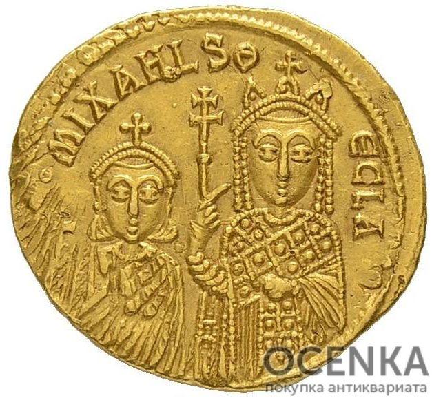 Золотой солид Византии, Михаил III (Пьяница), 842-867 год - 1