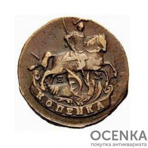 Медная монета 1 копейка Екатерины 2 - 4