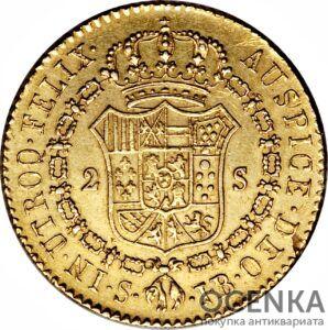 Золотая монета 2 Эскудо (2 Escudo) Испания