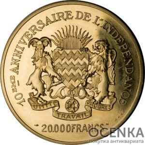 Золотая монета 20 000 Франков (20 000 Francs) Чад