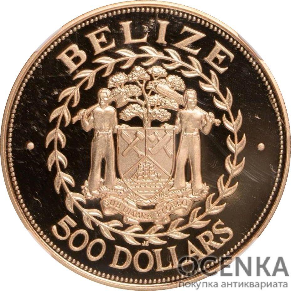 Золотая монета 500 долларов Белиза