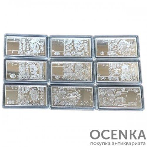Набор серебряных мини-банкнот от 1 до 500 гривен 2008 года, Украина