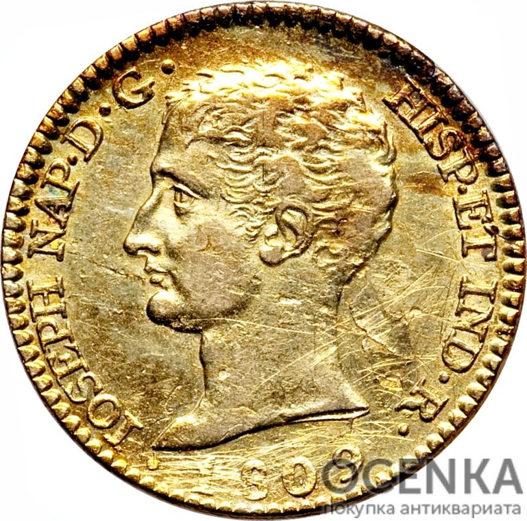 Золотая монета 80 Реалов (80 Reales) Испания - 1