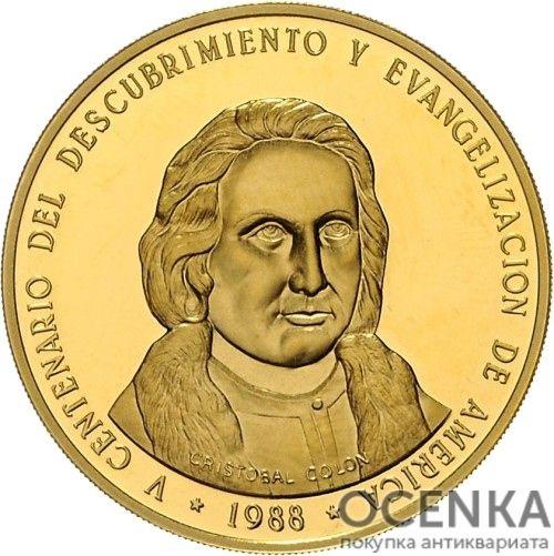 Золотая монета 500 Песо (500 Pesos) Доминикана - 1