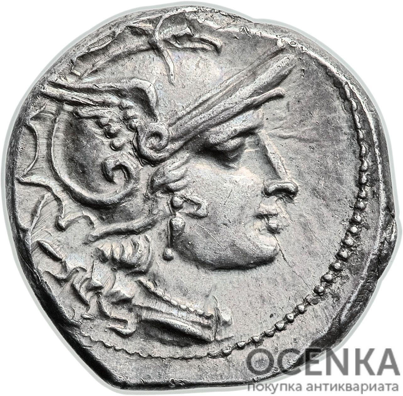 Серебряный республиканский Денарий Анонимного выпуска, 206-195 год до н.э.