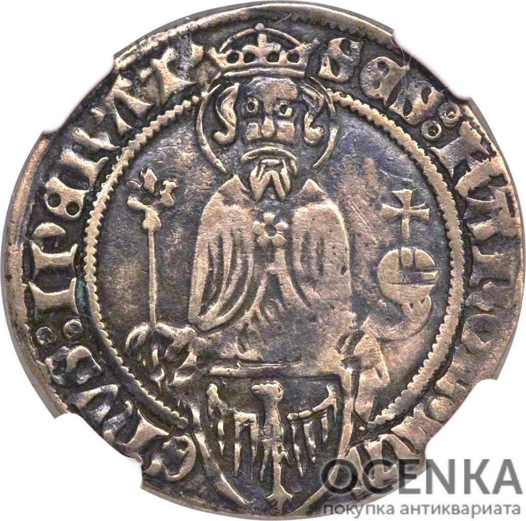 Серебряная монета Грош Средневековой Германии - 5