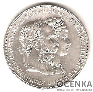 Серебряная монета 2 Гульдена (2 Guldens) Австро-Венгрия - 3