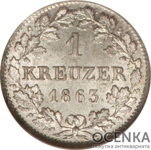 Серебряная монета 1 Крейцер (1 Kreuzer) Германия