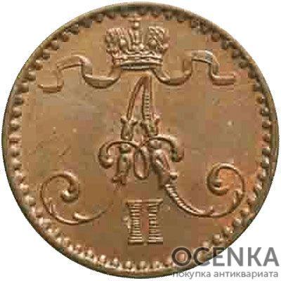 Медная монета 1 пенни Александра 2 (для Финляндии) - 1