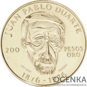 Золотая монета 200 Песо (200 Pesos) Доминикана