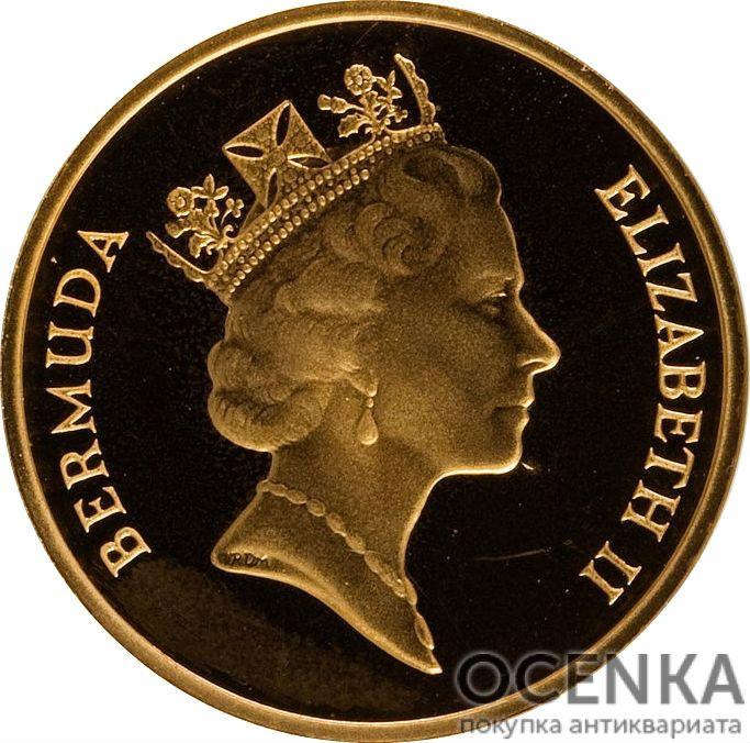 Золотая монета 1 цент Бермудских островов - 1