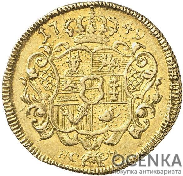 Золотая монета 1 Пистоль Германия