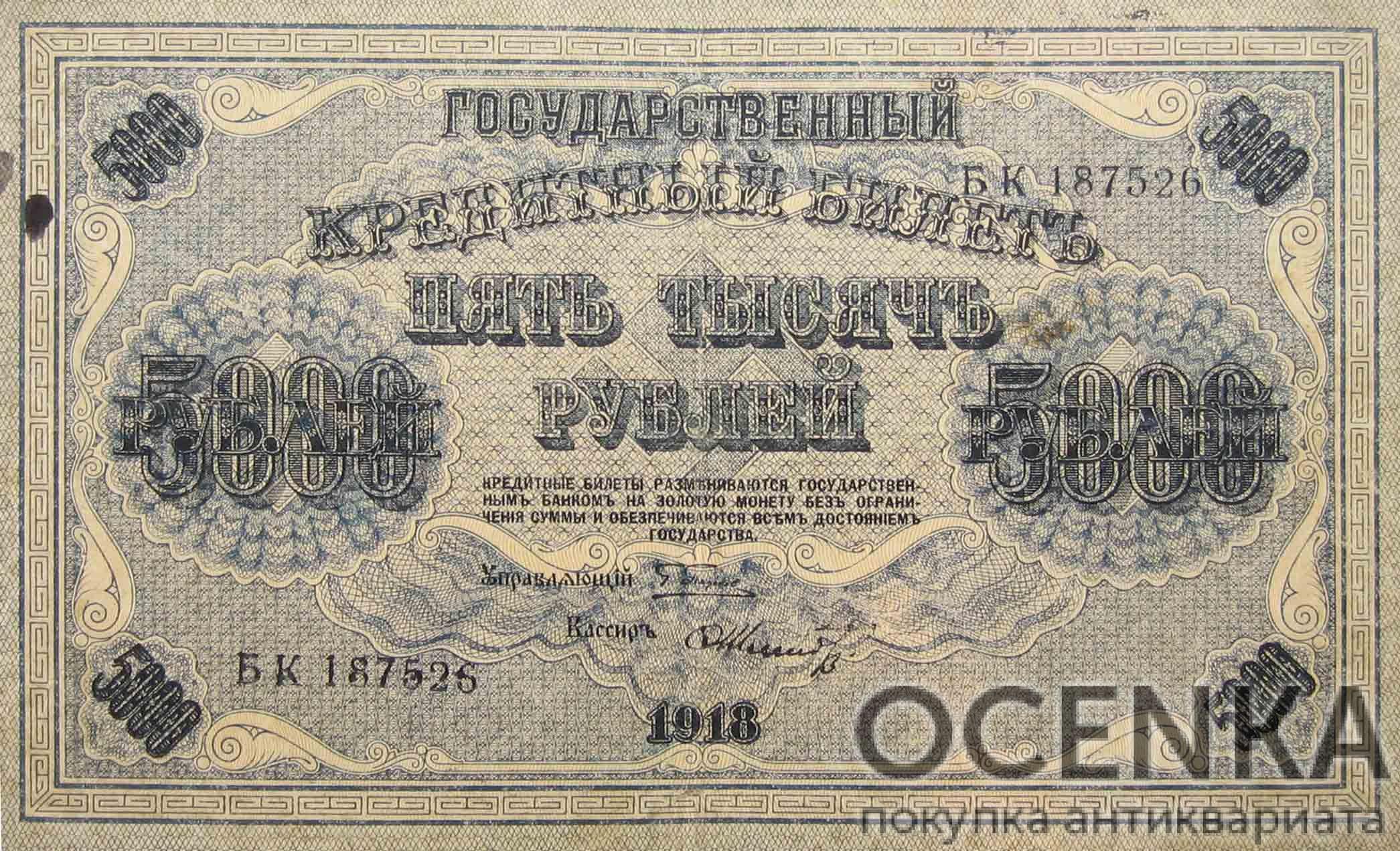 Банкнота РСФСР 5000 рублей 1918-1919 года