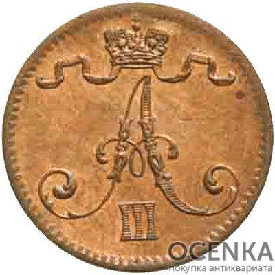 Медная монета 1 пенни Александра 3 (для Финляндии) - 1