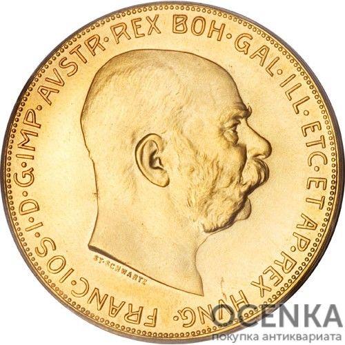 Золотая монета 100 крон Австро-Венгрии - 4