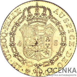 Золотая монета 4 Эскудо (4 Escudo) Испания