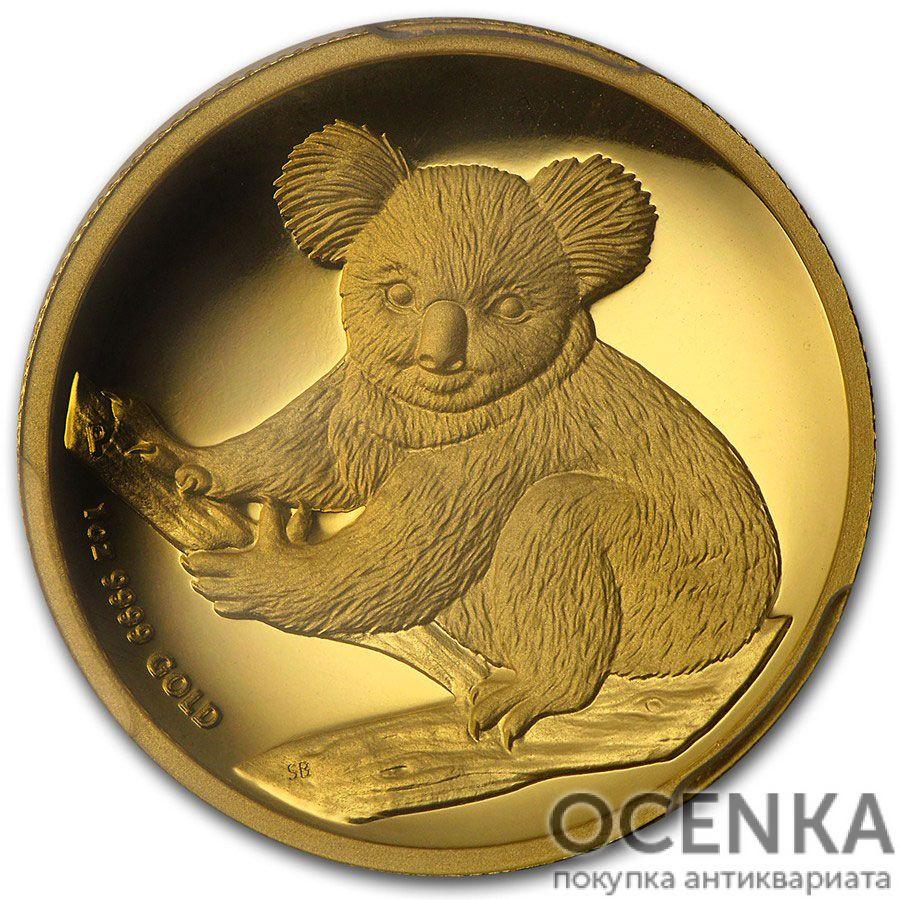 Золотая монета 100 долларов 2009 год. Австралия. Коала