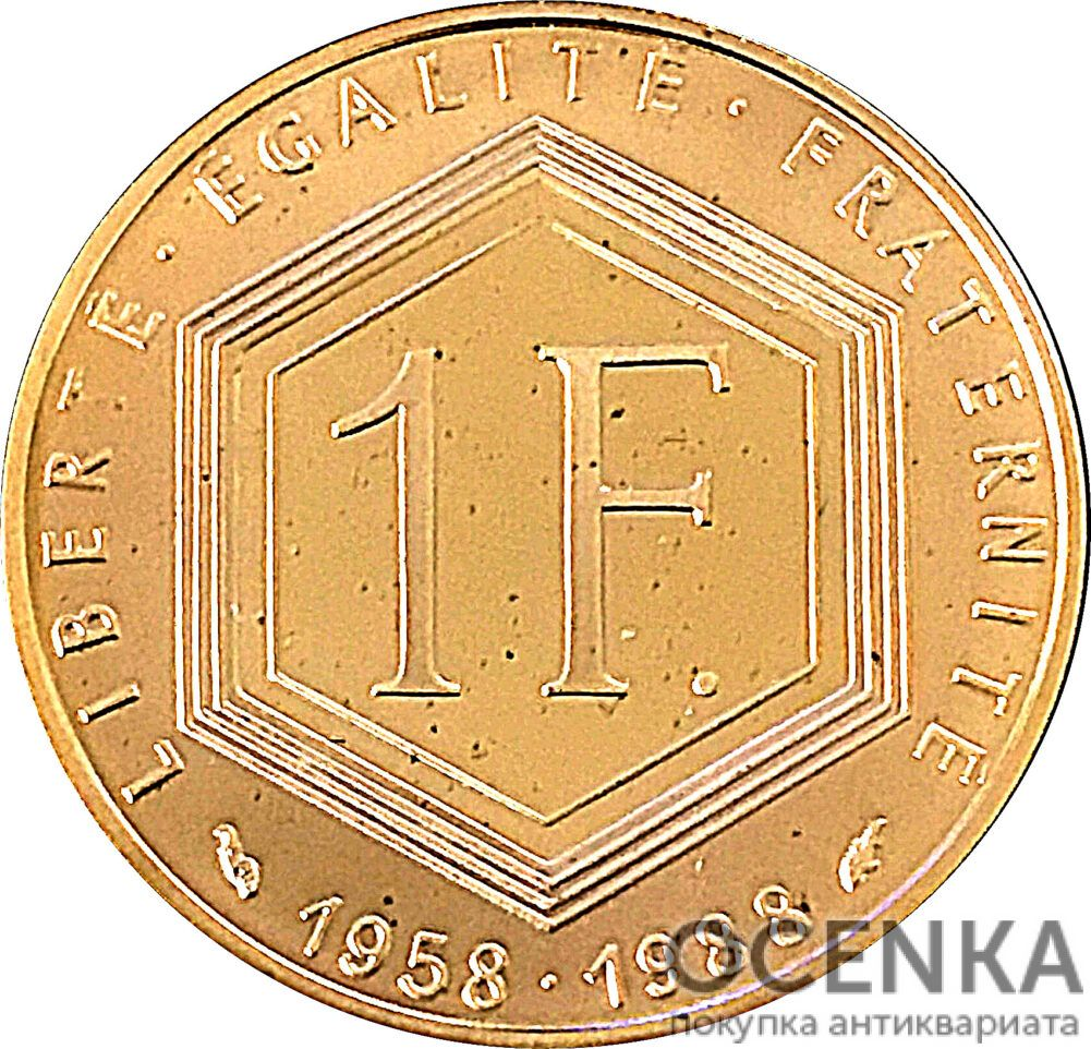 Золотая монета 1 Франк (1 Franc) Франция