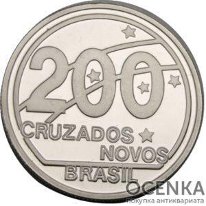 Серебряная монета 200 крузейро (200 Cruzados) Бразилия