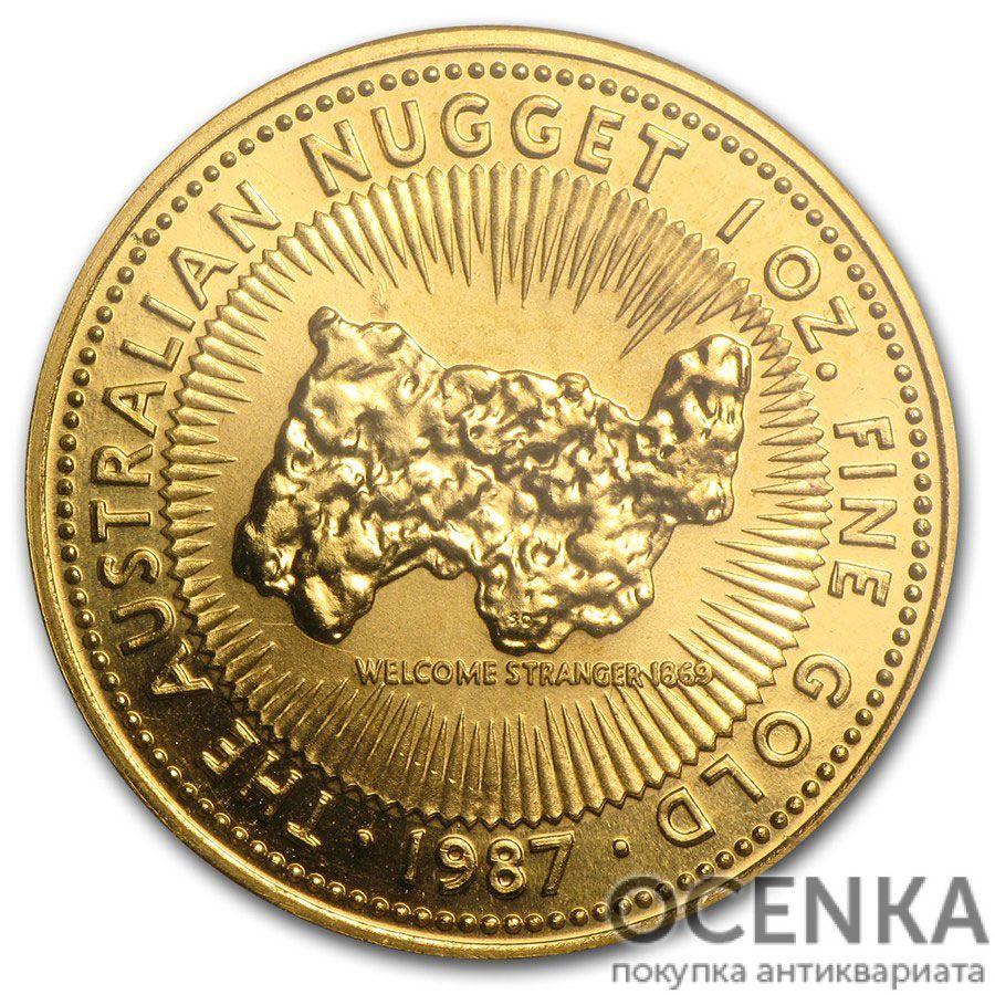Золотая монета 100 долларов 1987 год. Австралия. Самородки