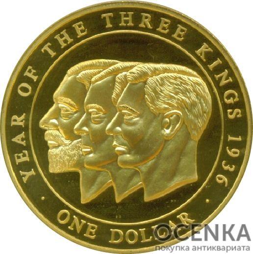 Золотая монета 1 Доллар Островов Кука - 4