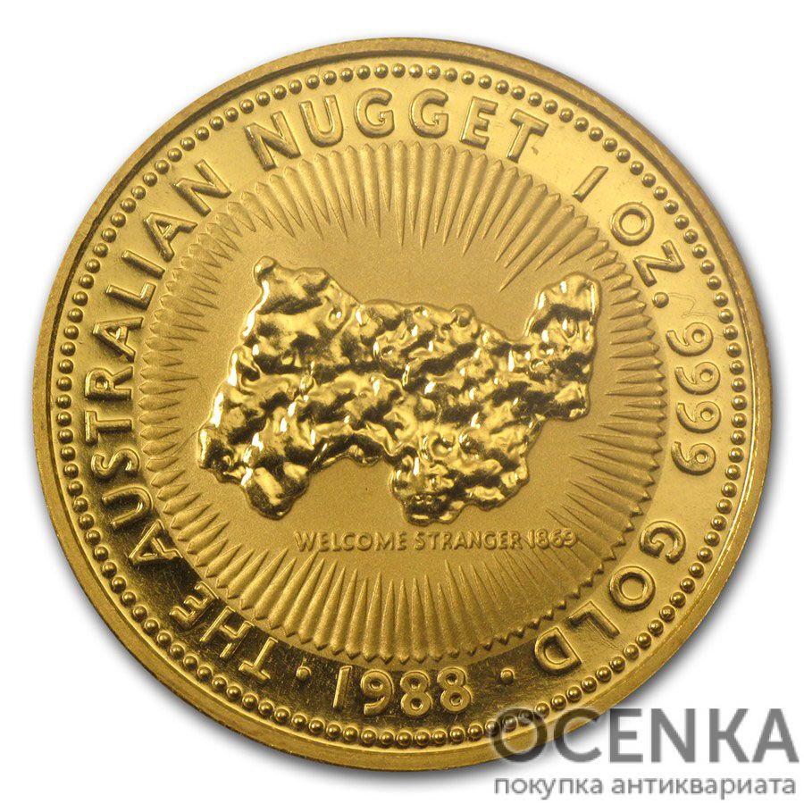 Золотая монета 100 долларов 1988 год. Австралия. Самородки