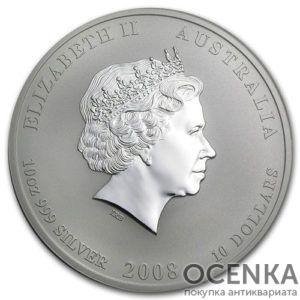Серебряная монета 10 доллар 2008 год. Австралия. Лунар. Год Крысы