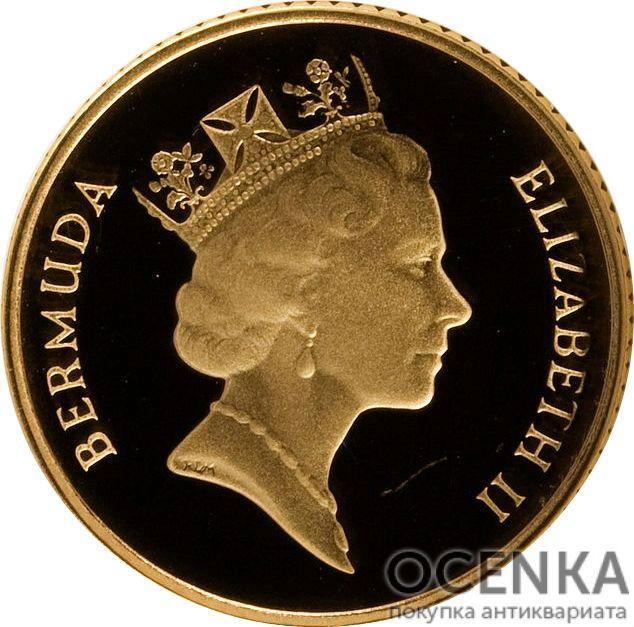 Золотая монета 10 центов Бермудских островов - 1