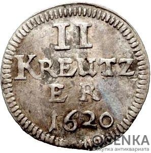 Серебряная монета 2 Крейцера (2 Kreuzer) Германия - 6