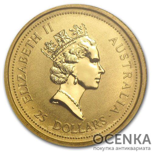 Золотая монета 25 долларов 1993 год. Австралия. Красный кенгуру - 1