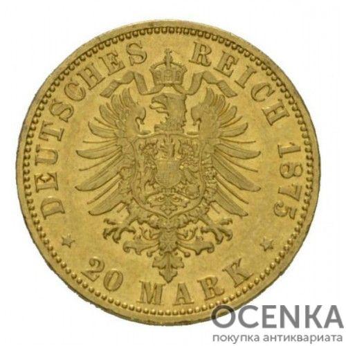 Золотая монета 20 Марок Германия - 2