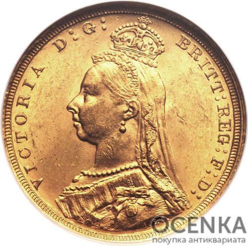 Золотая монета 1 фунт 1877-1893 годов. Австралия. Королева Виктория