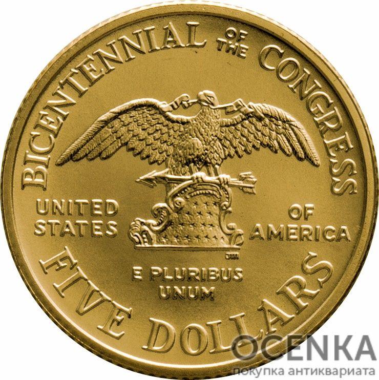 Золотая монета 5 Dollars (5 долларов) США - 14