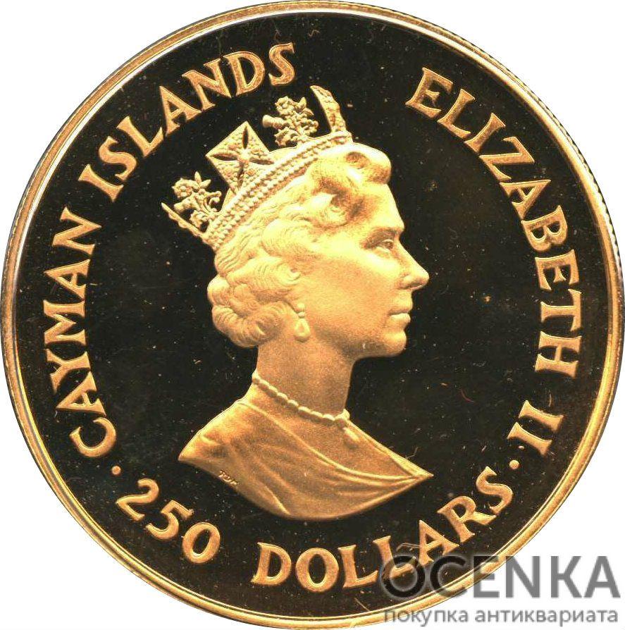 Золотая монета 250 Долларов Острова Кайман