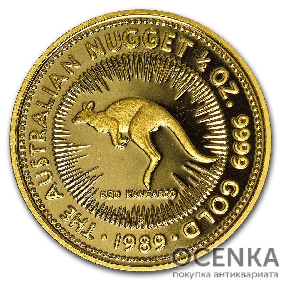 Золотая монета 50 долларов 1989 год. Австралия. Красный кенгуру
