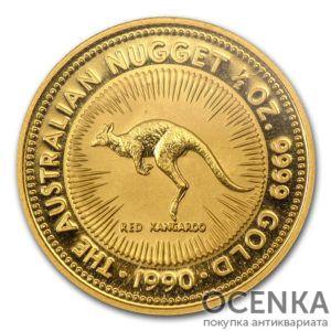 Золотая монета 50 долларов 1990 год. Австралия. Красный кенгуру